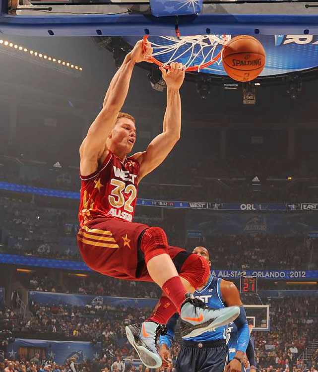Griffin made up for his absence in the dunk contest.