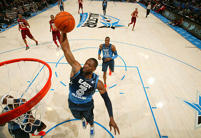 Wade registered the third triple-double in All-Star history -- 24 points, 10 rebounds and 10 assists.