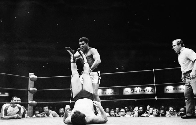 As Ali's boxing career was winding down, he faced Japanese wrestling legend Antonio Inoki in June 1976. The match, which took place in Tokyo, went 15 rounds and was largely a flop because Ali was only able to land six punches due to the constricting rules. The bout ended in a 3-3 draw and Ali would wind of with two blood clots in his legs as a result of the fight.