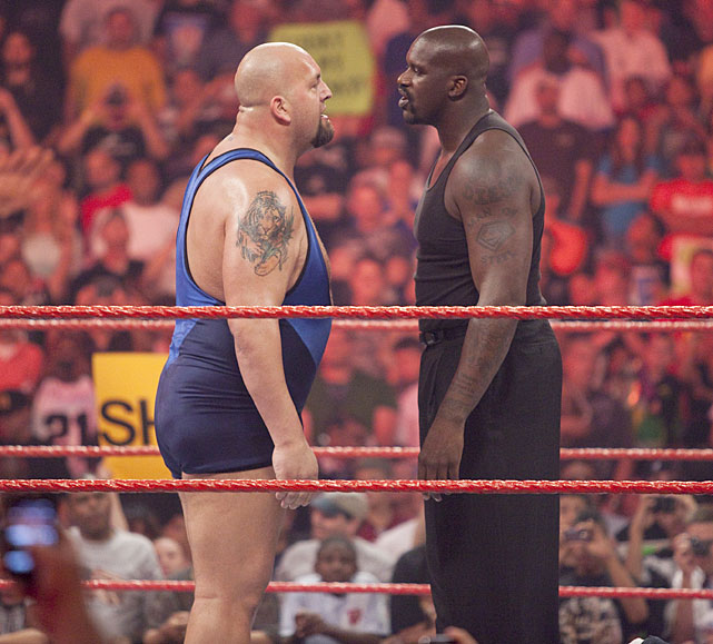 It's not very often Shaquille O'Neal finds a foe he can look in the eye, but that was the case in July 2009, when the TNT analyst crossed paths with 7-foot, 440 pound The Big Show. Rumors are heavy that O'Neal and Big Show will face off at Wrestlemania 28 on April 1 but WWE representatives have yet to confirm.