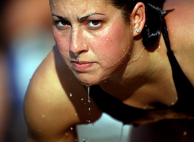 Evans looks determined at the 1995 U.S. National Swimming Championships.