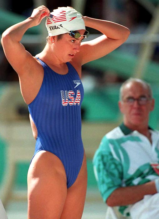 Evans gets ready for the 400-meeter freestyle qualifier at the Atlanta games. She didn't qualify for the final in the event and did not win a medal in 1996.