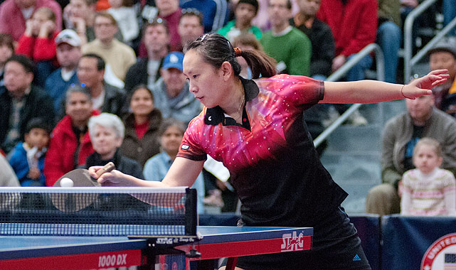 Four-time Olympian Gao Jun reaches for a ball during a match on Feb. 12. The 43-year-old went undefeated during the trials to secure a first-place finish and a berth at the North American trials.