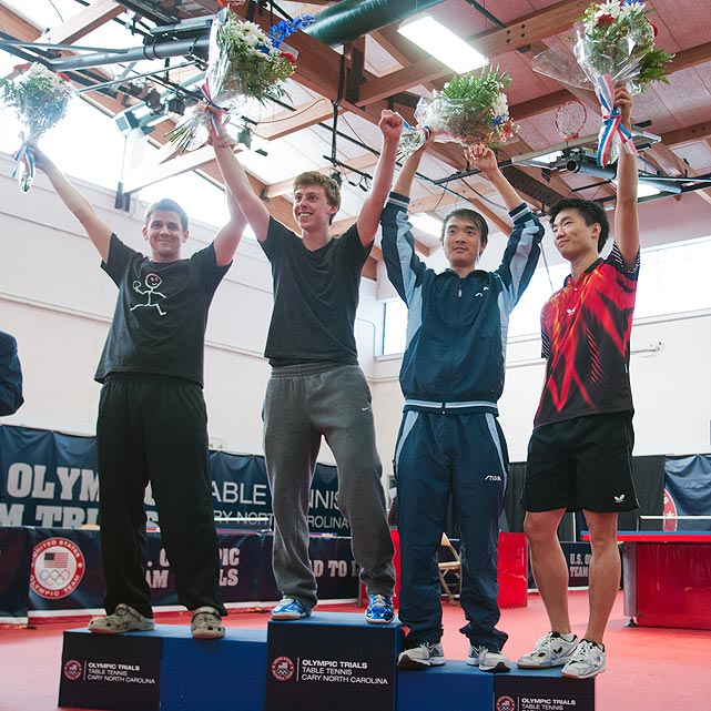 The top four on the men's side, (from left to right) Barney Reed, Michael Landers, Timothy Wang and Adam Hugh, celebrate qualifying for the North American trials.
