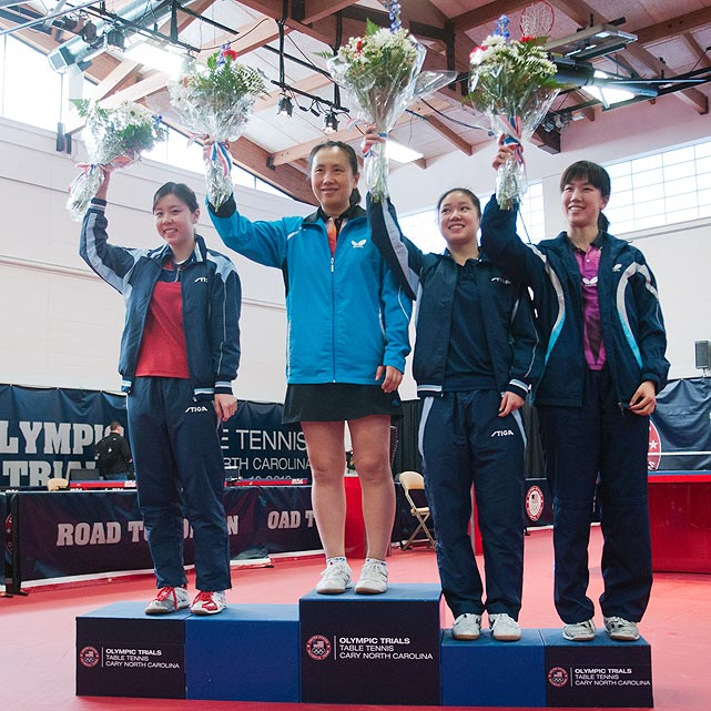 After qualifying for the North American trials, (from left to right) Ariel Hsing, Gao Jun, Lily Zhang and Erica Wu celebrate atop the podium.