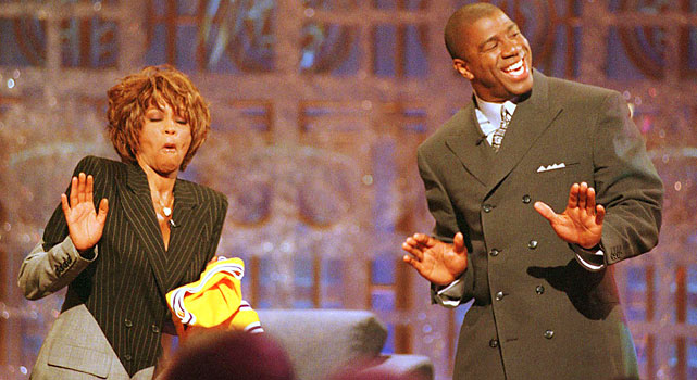 Along with Arnold Schwarzenegger, Houston was a guest on the premier of Magic Johnson's late-night talk show.   She briefly serenaded Magic  .