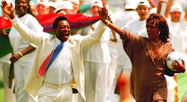 Joined by Pele, Houston   performed at the closing ceremonies   of the World Cup at the Rose Bowl.