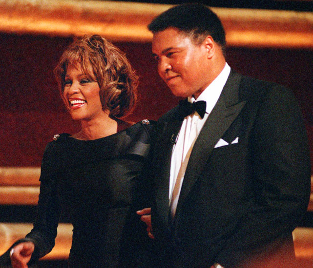 "Houston   presented an award to Muhammad Ali   at Radio City Music Hall. Houston's ""The Greatest Love of All"" was written for Ali's 1977 biopic,  The Greatest."