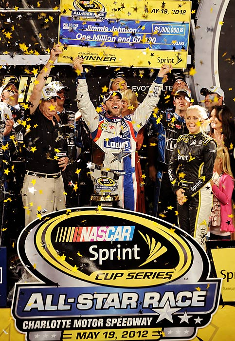 Johnson claimed his third All-Star Race, tying Dale Earnhardt and Jeff Gordon. He celebrated by taking team owner Rick Hendrick on a victory lap around Charlotte Motor Speedway.