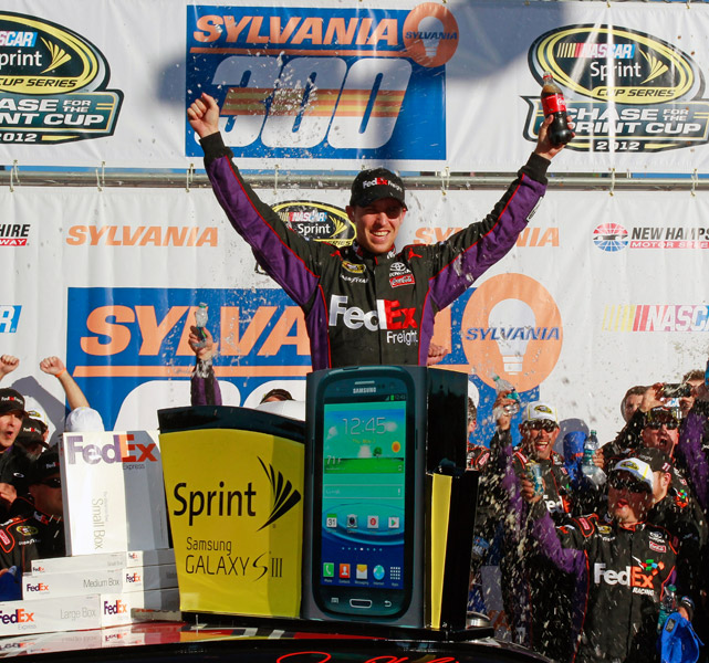 After running out of fuel at Chicagoland the week before, Denny Hamlin predicted on Twitter that he would bounce back with a win at New Hampshire. He did just that. Despite starting 32nd, Hamlin dominated the field to earn a 2.675-second victory over second-place finisher Jimmie Johnson. The win marked Hamlin's fifth Sprint Cup victory of the year and 22nd of his career.