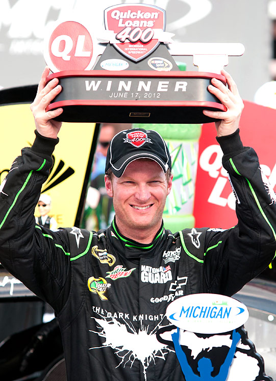 Dale Earnhardt Jr. raced to his first Sprint Cup victory in four years, ending a 143-race winless streak Sunday at Michigan International Speedway. His win came almost exactly four years to the day after his last trip to Victory Lane in a Cup race.
