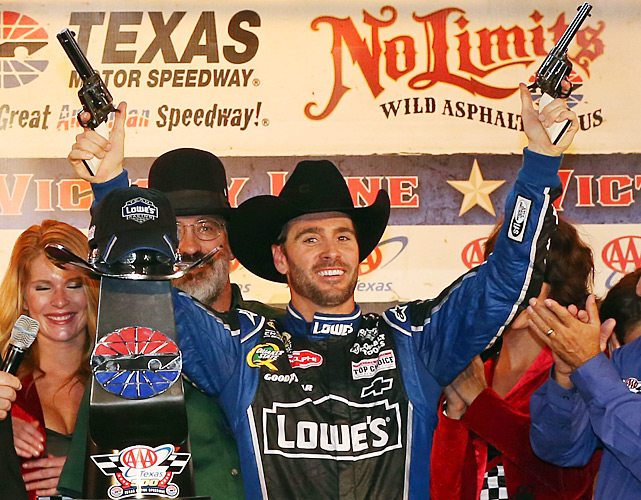 After leading for 168 laps, Jimmie Johnson took advantage of a final restart to overtake Brad Keselowski and win at Texas Motor Speedway. The victory was Johnson's second straight from the pole and boosted his Chase points lead to seven over Keselowski with only two races remaining.