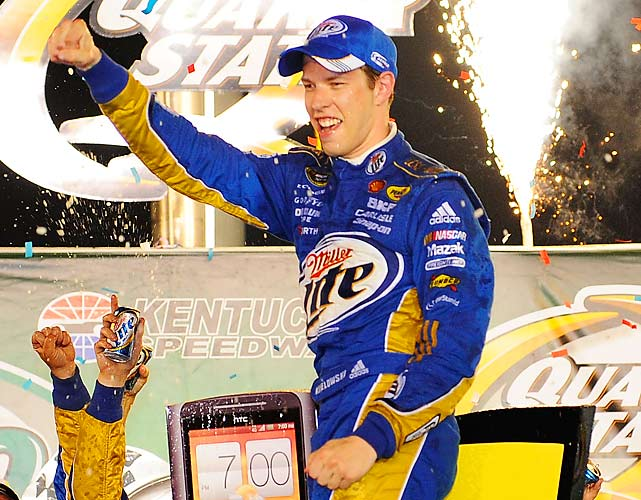 After wrecking his top car in practice earlier in the week, Brad Keselowski used his backup car to win the Quaker State 400 at Kentucky Speedway. Keselowski led the final 55 laps to become the first driver with three wins on the season, breaking out of a slump in which he failed to crack the top 10 in any of the previous four races.