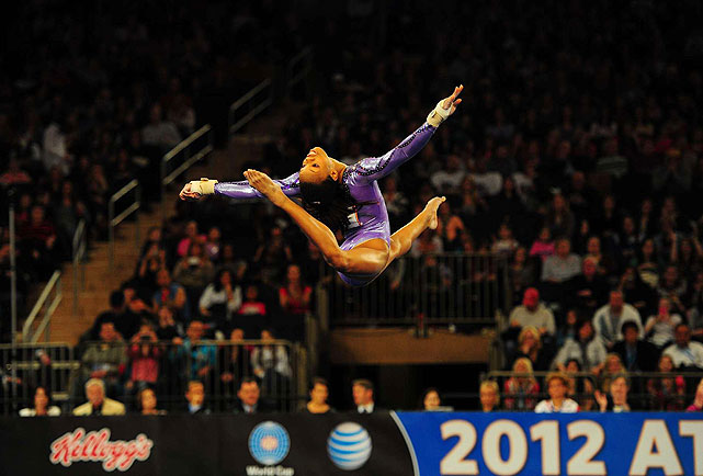 Though she wasn't eligible for the all-around title, Gabrielle Douglas finished the day with 61.299 points, 0.2 higher than gold medalist Jordyn Wieber.