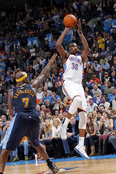 Reigning scoring champ Kevin Durant dropped a career-best 51 (the highest output of the season at the time) on the Nuggets as the Thunder rolled to a 124-118 overtime win. Durant was 19-of-28 from the floor and 5-of-6 from three-point range, and also grabbed eight rebounds and had four steals.