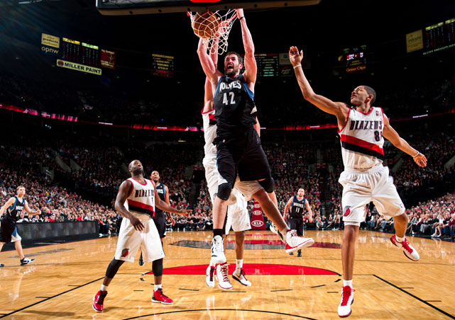 The Timberwolves big man had a season-high 42 points and 10 rebounds in a 122-110 win over the Trail Blazers, snapping Minnesota's 16-game losing streak to Portland.