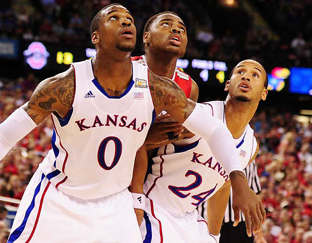 Thomas Robinson (0) of No. 2 seed Kansas eyes a rebound in the post during Saturday's Final Four contest against No. 2 seed Ohio State. Robinson racked up 19 points as the Jayhawks rallied from 13 points down to survive the Buckeyes.