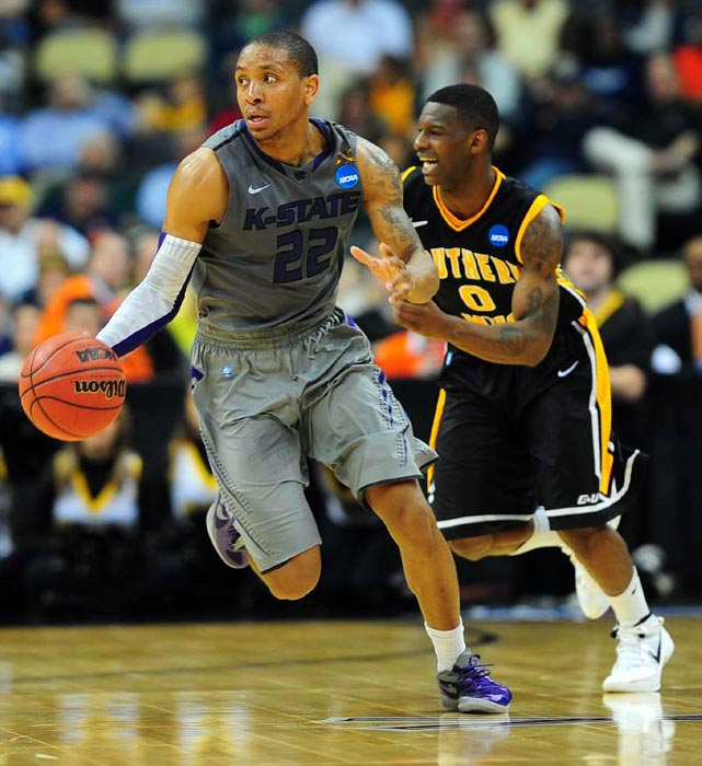Kansas State guard Rodney McGruder moves the ball up the floor. McGruder turned in a dominant performance against Southern Miss, propelling KSU to the second-round with a 30 point performance.