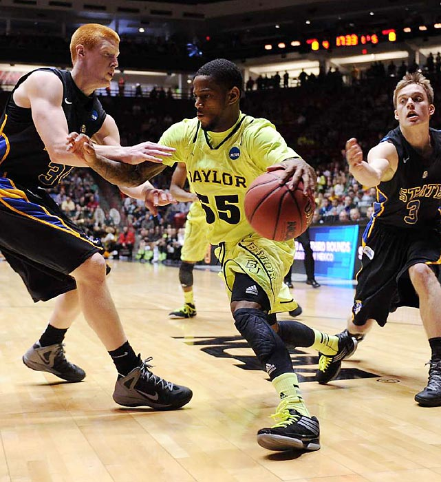Baylor came out jittery, falling behind SDSU 19-7 in the first seven minutes before using their superior strength and athleticism to take a 24-22 lead with just under six left in the first half. Point guard Pierre Jackson was the Bears' best player, leading the team to the second-round with 18 points.