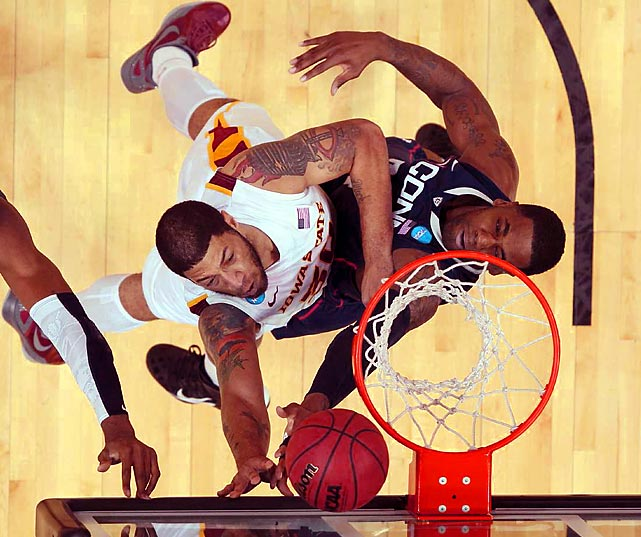 Royce White registered a double-double for Iowa State in their comfortable win over defending champion UConn, scoring 15 points and adding 13 rebounds to lead the eighth-seeded Cyclones to their first tournament win since 2005.