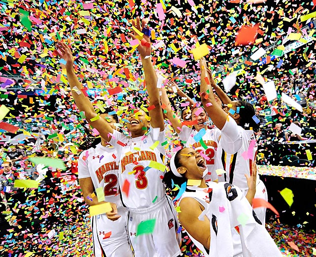Maryland players celebrate after beating Georgia Tech 68-65 to win the ACC Women's Basketball Tournament championship game on Sunday in Greensboro, North Carolina.