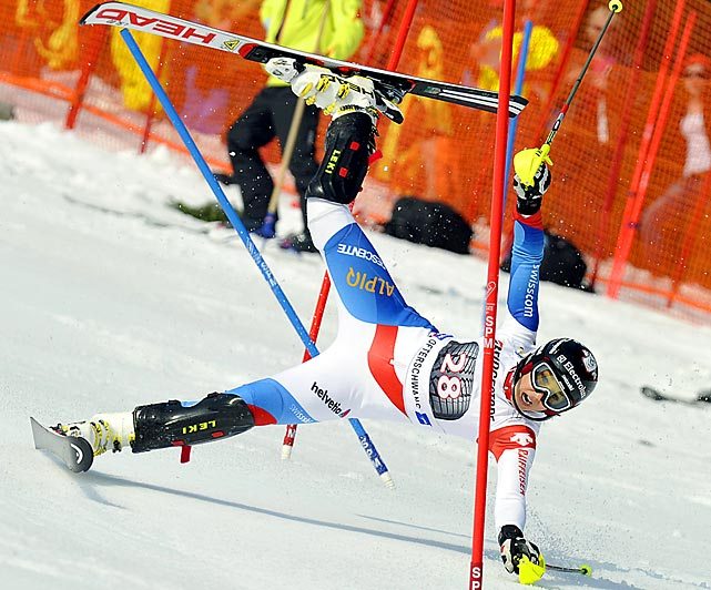 Swiss skier Wendy Holdener wears a worried expression immediately before biting the dust at a Women's World Cup Slalom event in Germany.