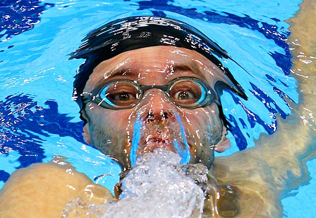 English swimmer Marco Loughran competes in the 200-meter backstroke during the British Gas Swimming Championships in London.