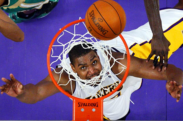 Lakers center Andrew Bynum goes up for a rebound in L.A.'s Sunday game against the Boston Celtics.