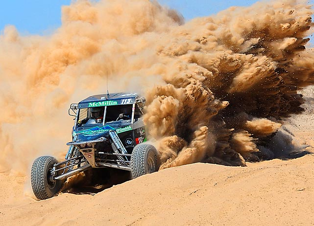 SCORE Class 1 driver Luke McMillin races through a silt bed during the San Felipe 250 in San Felipe, Mexico.