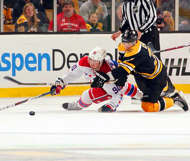 Capitals forward Marcus Johansson slides for a puck against the Boston Bruins.