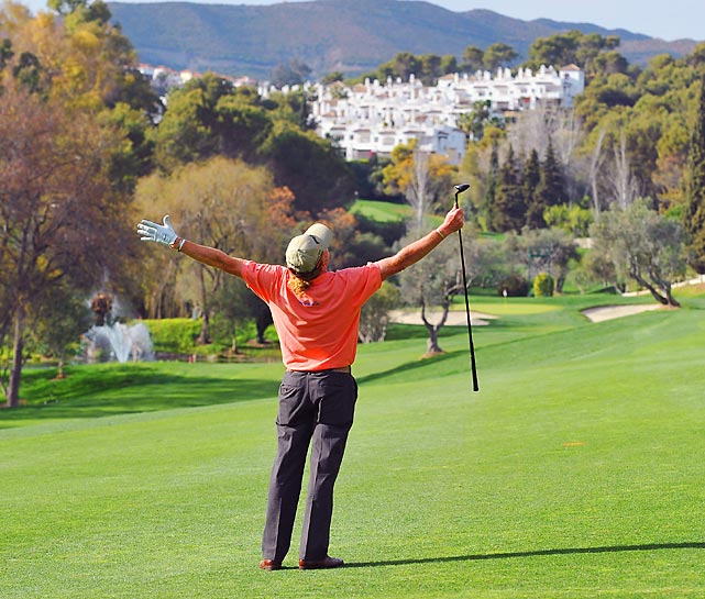 Miguel Angel Jimenez of Spain reacts to his shot during the pro-am of the Open de Andalucia Costa del Sol.