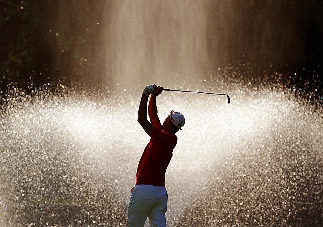 Sweden's Fredrik Andersson Hed's shot hopefully avoids the fountain during the third round of the Open de Andalucia Costa del Sol in Marbella, Spain.