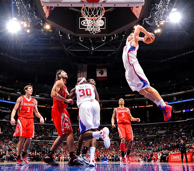 The Clippers' Blake Griffin soars to the hoop for a spectacular dunk against the Houston Rockets.