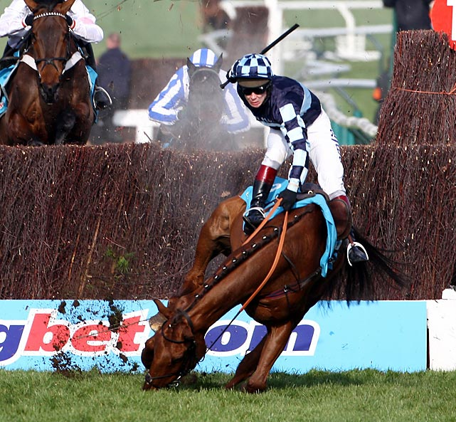 Richard Johnson on Wishful Thinking takes a fall during the Queen Mother Champion Steeplechase during the 2012 Cheltenham Fesitval in Gloucestershire.