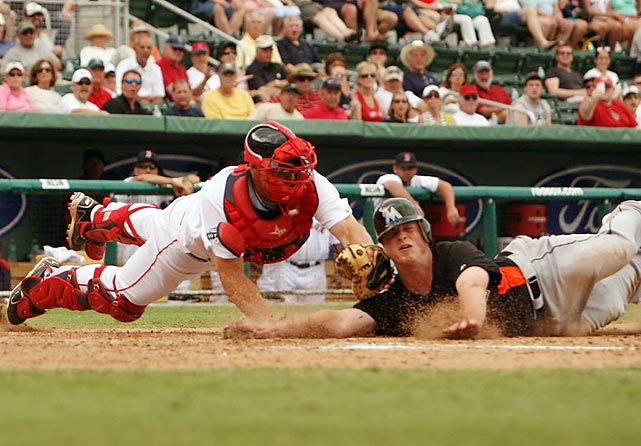 The Miami Marlins and Boston Red Sox square off during a spring training game in Ft. Myers, Fla.