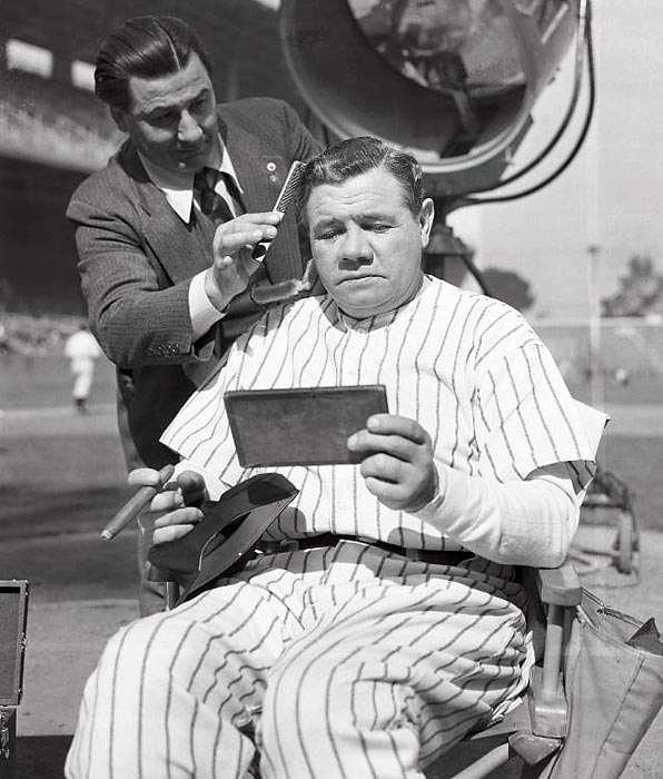Ruth getting a little touch up before appearing as himself in the movie Pride of the Yankees.