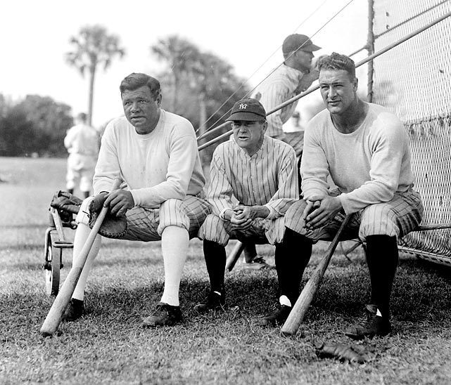Ruth, Miller Huggins and Lou Gehrig take a break during Yankees Spring Training in St. Petersburg, Fla.