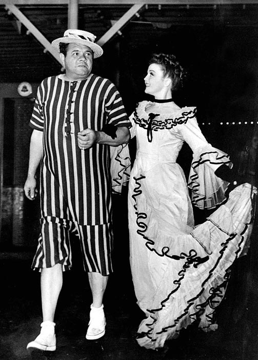 Ruth and Nancy Carroll, stars of the Broadway play I Must Love Someone, attend the annual roller skating party in Coney Island.