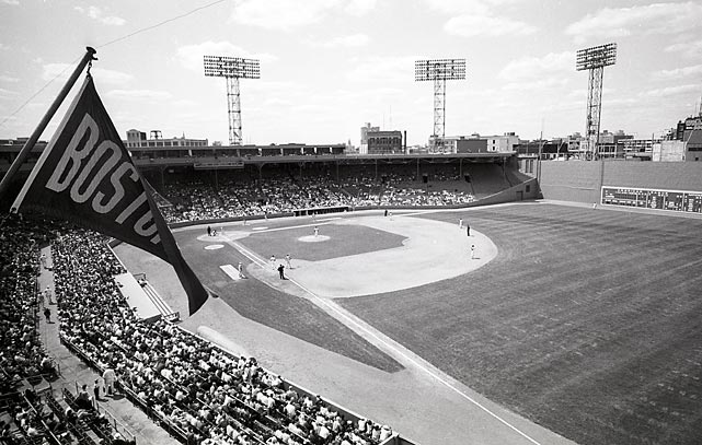 The view from the rightfield roof during a 1965 Red Sox-Athletics game.