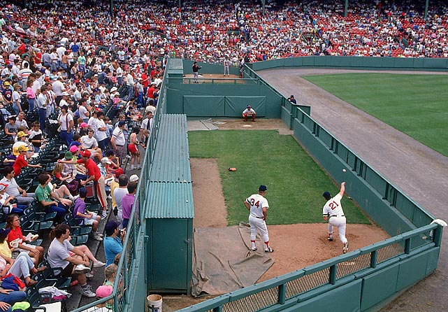 Roger Clemens warms up in the Red Sox bullpen before a 1990 game against the Orioles.