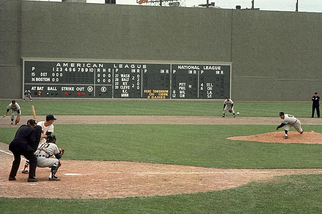 Famed SI photographer Neil Leifer catches the action of a 1961 Red Sox-Tigers game.