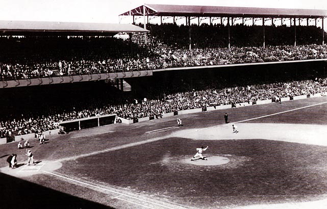 A rooftop photographer catches the action between the Red Sox and St. Louis Browns.