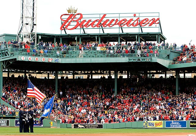 The National Anthem is played before a May 2008 Red Sox-Royals game.