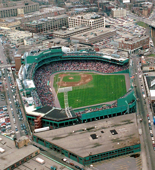 An aerial view of Fenway Park in 1995.  At the time, there was talk of a projected replacement for the park at the cost of $600 million, but fans were unhappy with public money being used for a sports venue.