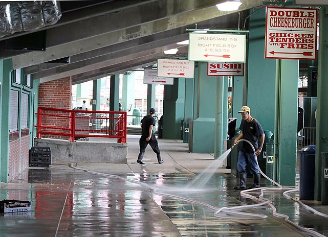 Workers hose down grandstands before a 2011 game against the Indians.