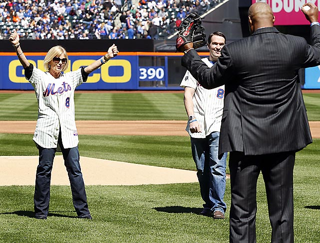 Sandra Carter, the wife of the late Gary Carter, reacts after throwing out the ceremonial first pitch before the New York Mets game vs. Atlanta.