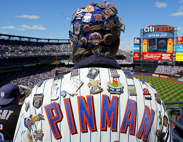 A New York Mets fan who goes as 'Pinman' is seen at the MLB National League opening day baseball game against the Atlanta Braves at CitiField in New York April 5, 2012.
