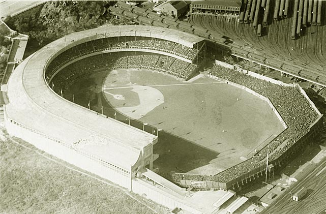 An aerial view of the Polo Grounds is shown in this 1921 photo. Along with being home to the baseball Giants, the Polo Grounds was the Yankees' home stadium from 1913 to 1922.
