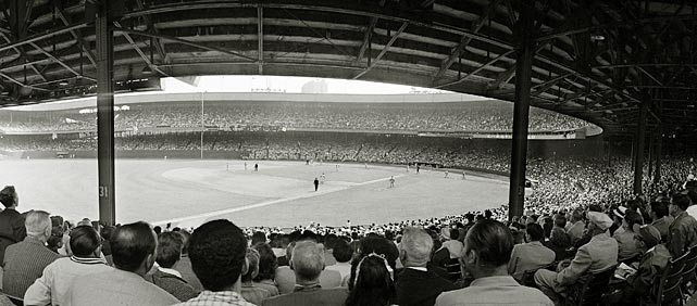 A panoramic view of a Giants-Dodgers game from the left field stands at the Polo Grounds.