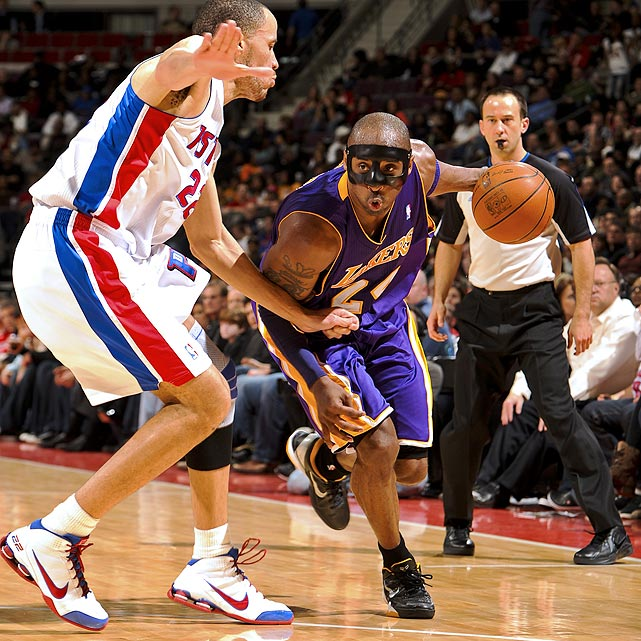 "Due to a nasal fracture suffered during the NBA All-Star Game, Kobe Bryant has been forced to wear a protective mask for the past couple games. It's been an adjustment for the NBA superstar.  ""You just start sweating immediately inside of it. It just felt like I had a sauna on my face. Like I was drinking my own sweat because it was leaking out,"" Bryant said. ""It was a mess. It was totally disgusting.""  Of course, he's not the first NBA player to don a mask in the name of safety. Here are a few of the others."